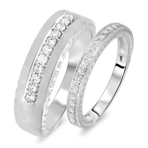 1 2 carat t w cut his and hers wedding band
