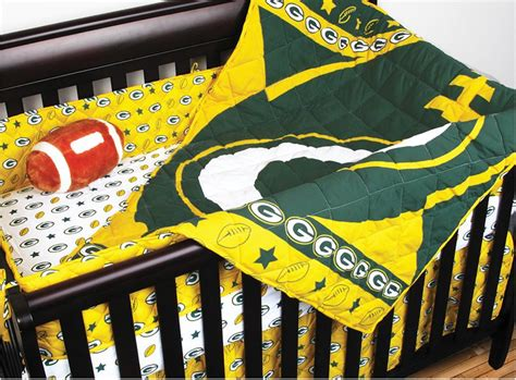 green bay packers bed set 4pc nfl green bay packers crib bedding set football baby