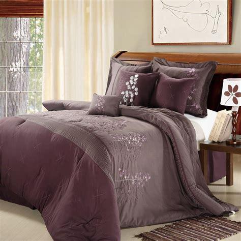 plum comforter sets queen poppy flower plum purple 8 piece queen comforter bed in