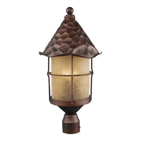 Copper Outdoor Light Titan Lighting Rustica 3 Light Outdoor Antique Copper Post Light Tn 12109 The Home Depot