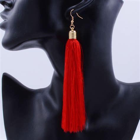 Etnic Tassel Earrings Gold Plated aliexpress buy tassel drop earrings gold plated cotton fringes ethnic