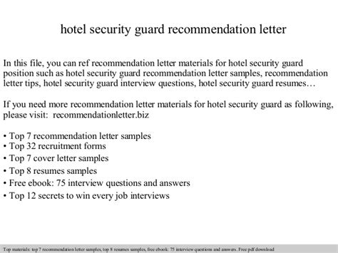 Waitress Resume Examples by Hotel Security Guard Recommendation Letter