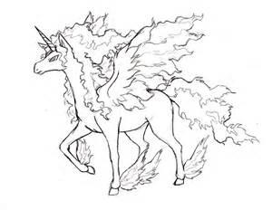 Pokemon Rapidash Mega Evolution Sketch Coloring Page sketch template