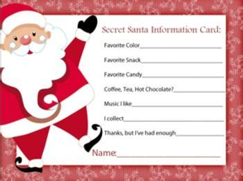 christmas exchange questionnaire secret santa information sheet secret santa secret santa gifts and santa gifts