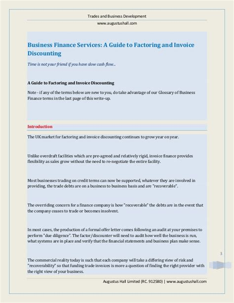 business finance services a guide to factoring and invoice discount