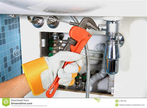 What Is Plumbing Work Plumbing Work And Sanitary Engineering Stock Photo Image