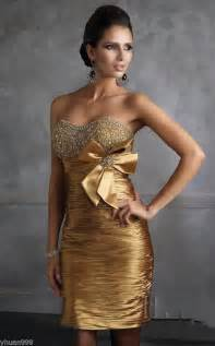 stock short cocktail gold dress bridesmaid prom ball party