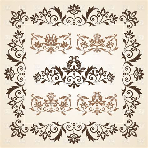 retro vintage design elements vector set set of brown vintage design element royalty free vector
