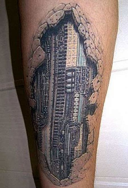 3d tattoo on leg see more 3d beautiful mechanical tattoo on leg show me