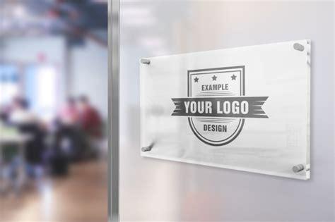 logo  office glass sign mockup mediamodifier