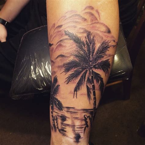 beach scene tattoo a i did my work