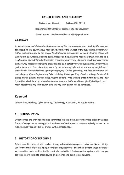 Cyber Crime Essay Introduction by Research Paper On Cyber Security