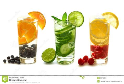 Detox Drinks White Background by Detox Water With Fruit On White Stock Photo Image 52752822
