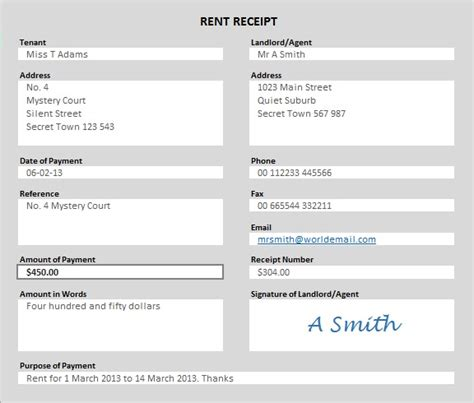 Rent Receipt Template Australia by Free Rent Receipt Template In Excel Pdf