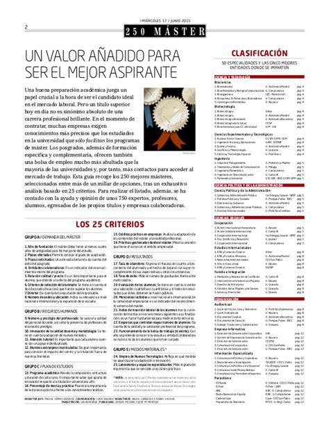 Ranking Mba España 2015 by Ranking 250 M 225 Sters De Espa 241 A Y Gu 237 A Completa De Mba El