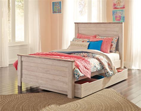 ashley furniture willowton full panel bed  trundle