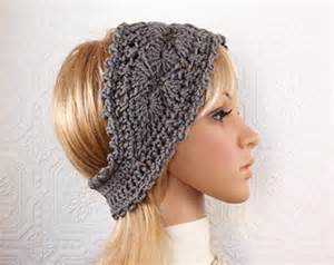 Crochet headband headwrap ear warmer gray crochet winter