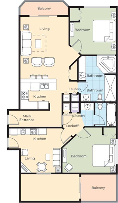 2 Bedroom Suite Daytona Beach Ocean Walk Resort Floorplans