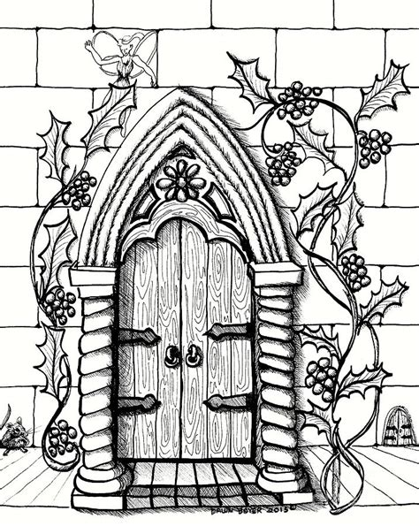 fairy door coloring page double fairy doors with mouse drawing by dawn boyer
