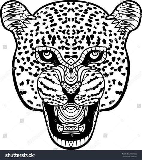 monochrome drawing bull tribal patterns on stock vector monochrome handdrawn ink drawing painted jaguar stock