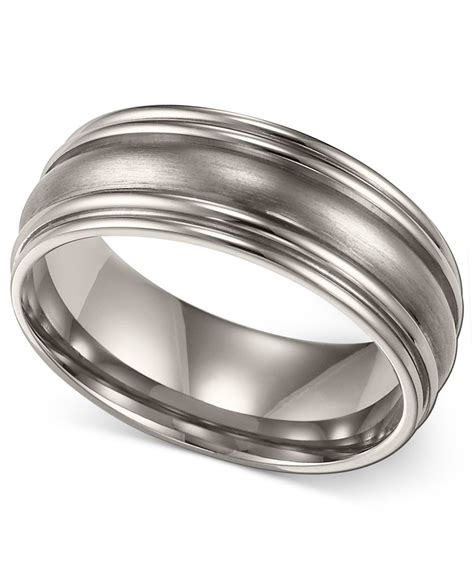 macy s s titanium ring comfort fit wedding band 7mm