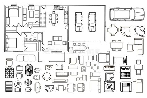 architectural color floor plan furniture top stock vector architecture plan with furniture in top view stock vector