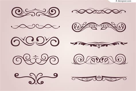 4 designer 10 simple decorative patterns vector material