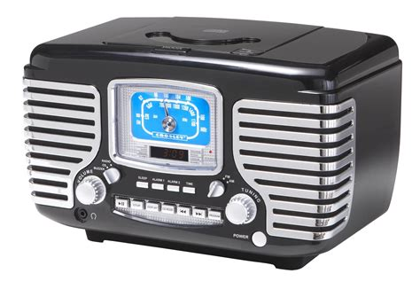 crosley cr612 bk corsair retro am fm dual alarm clock radio with cd player black