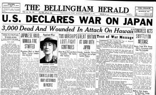 War on japan bellingham herald newspaper article 8 december 1941