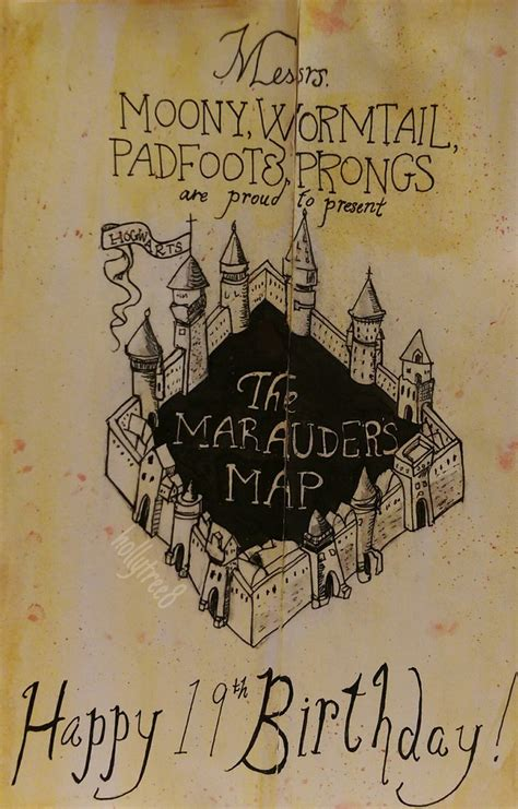 harry potter the marauders map birthday card by