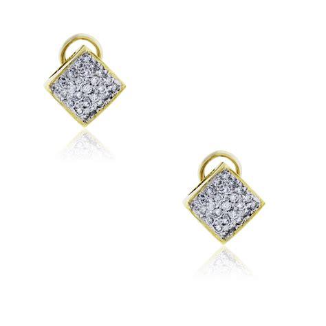 14k Yellow Gold Stud Earrings 14k yellow gold 1 25ctw pave stud earrings