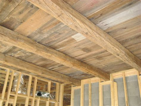Outdoor Wood Ceiling Planks Cedar And Reclaimed Cedar Beams On Exposed Plank Ceiling