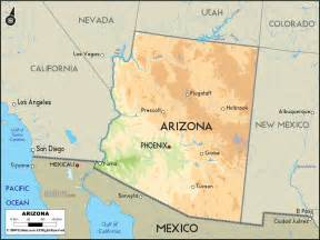 geographical map of arizona and arizona geographical maps
