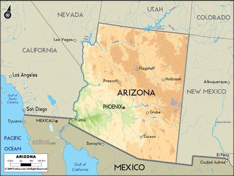 arizona state on us map the state of arizona