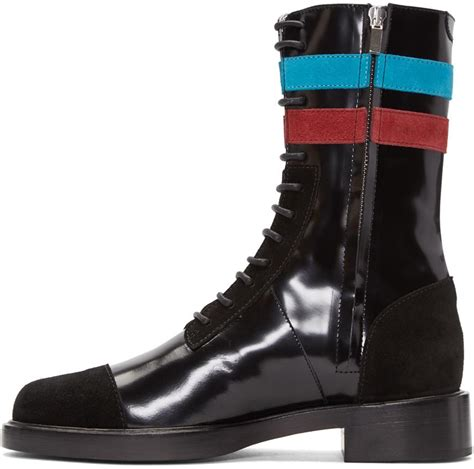 raf simons black stripes boots in black for lyst