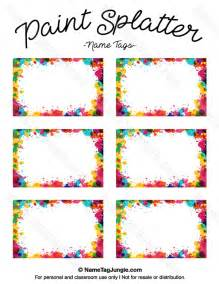Free Tags Templates Printable by Free Printable Paint Splatter Name Tags The Template Can