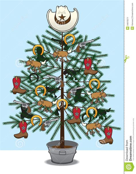 Western Themed Giveaways - christmas tree decorated with various western themed items such as rwl09q clipart