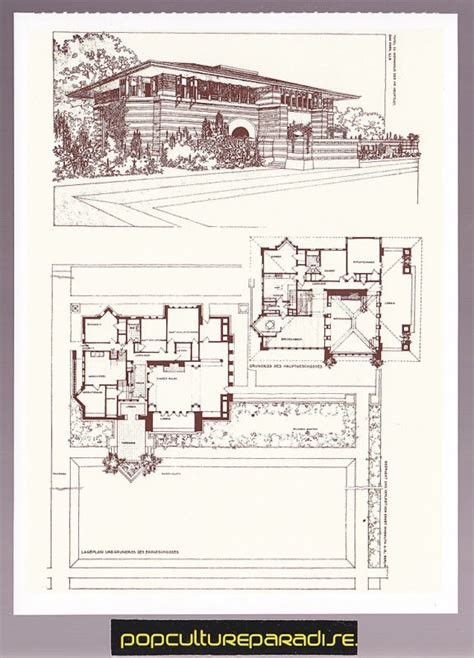 frank lloyd wright house plans arthur b heurtley house 1902 oak park illinois