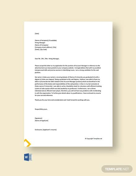 account manager cover letter templates word