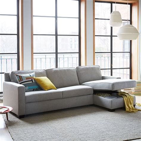 west elm henry sleeper sofa henry 174 2 piece pull down full sleeper sectional w storage