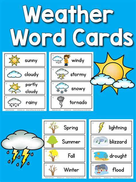 cards for kindergarten weather picture word cards prekinders