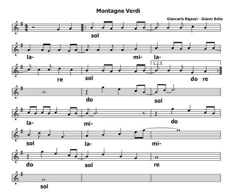 testo canzone montagne verdi musica e spartiti gratis per flauto dolce montagne verdi