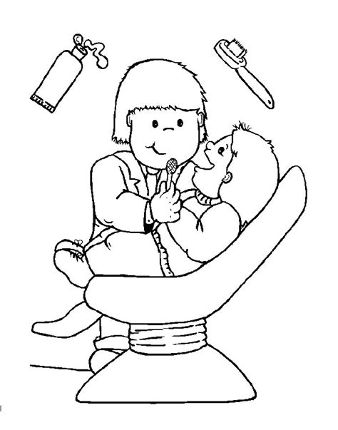 free coloring pages of at the dentist