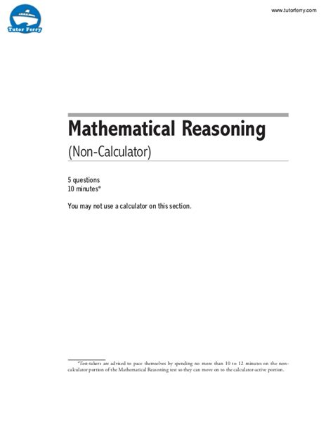 Mat Reasoning Questions by Ged Mathematical Test