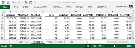 prepaid expense spreadsheet template excel formula to allocate an amount into monthly columns