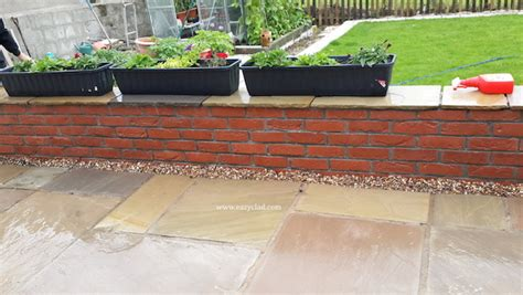 garden wall cladding using brick slips on a garden wall eazyclad cladding