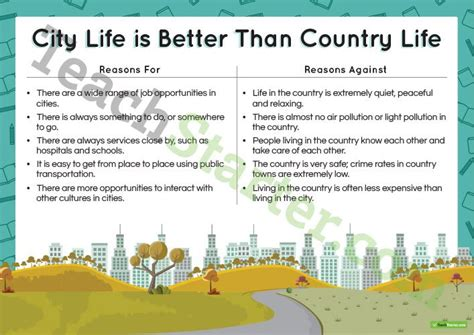 City Vs Country Essay by Persuasive Texts Writing Task City Is Better Than Country Teaching Resource Teach