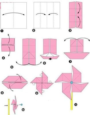 How To Fold A Paper Flower - origami windmill easy make origami instructions for kids