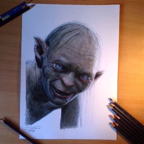 gollum color pencil drawing by atomiccircus on deviantart