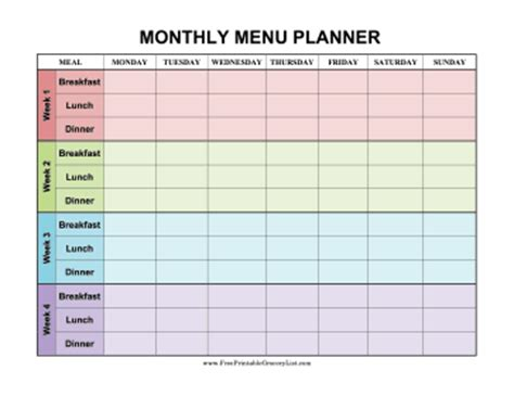 monthly food calendar template printable monthly menu planner color